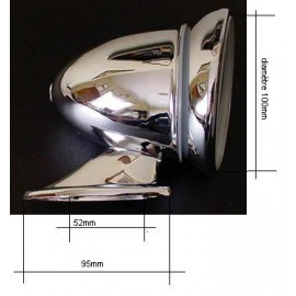 Rétroviseur extérieur obus chrome (convex)
