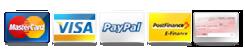 Paiement par Mastecard, Visa, PayPal, Postfinance, Virement bancaire